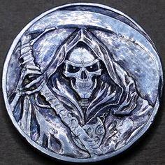 NARIMANTAS PALSIS HOBO NICKEL - NO DATE BUFFALO NICKEL Sculpture Art, Sculptures, Mens Silver Jewelry, Hobo Nickel, Coin Art, Metal Engraving, Buffalo, Old Coins, Grim Reaper