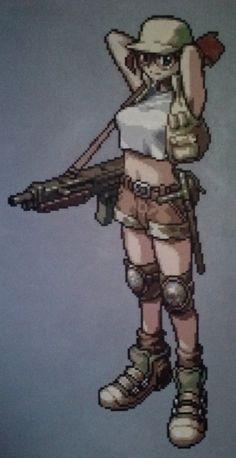 Metal Slug Fio Pixel Painting by zekeknight on Etsy, $500.00