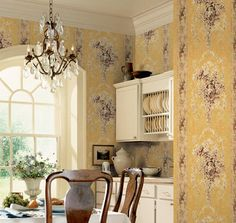 Ronald Redding French Historical Floral In Blue & Antique Cream Wallpaper French Wallpaper, Cream Wallpaper, Antique Furniture For Sale, French Pattern, Vintage Antiques, Kitchen Cabinets, Floral, Room, Blue