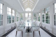 Bright: The elegant dining room, pictured, is located in a conservatory attached to the ho...: Dollar London, Ideal Homes, Formal Dining Rooms, Elegant Dining Room, 194 Interior, Oudoor Rooms, Gorgeous Rooms, Expensive Homes, Cococozy Interior