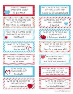 Valenitne Lunch box Joke cards