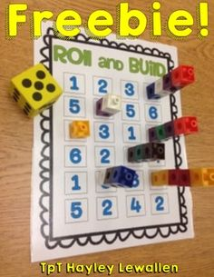 Roll and Build FREEBIE To celebrate my personal mini-milestone of 100 TpT follo. Roll and Build FR Kindergarten Math Activities, Numbers Kindergarten, Math Numbers, Fun Math, Teaching Math, Subitizing Activities, Number Recognition Activities, Number Sense Activities, Teen Numbers