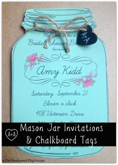 free printable mason jar invites | Mason Jar Invitations and Chalkboard Tags for Weddings or Showers