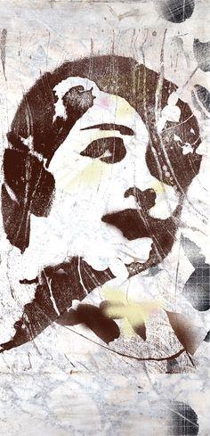 Stencil art depicting a 1920s flapper.
