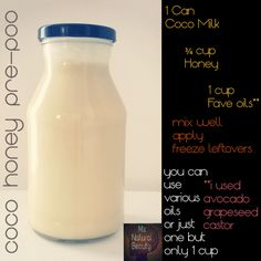 A variation of a pre-poo recipe I found. Works amazingly! Enjoy because it's perfect for #NaturalHair #CurlyHair #AllHairTypes follow me on IG: msnaturalbeautync or search the name on FB. this is my own photo from my own kitchen. I used the bottle to shake & freezer bags for storage!