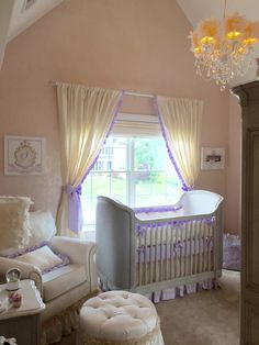 Classic, Elegant Nursery with Lavender Accents and a Glitter Wall