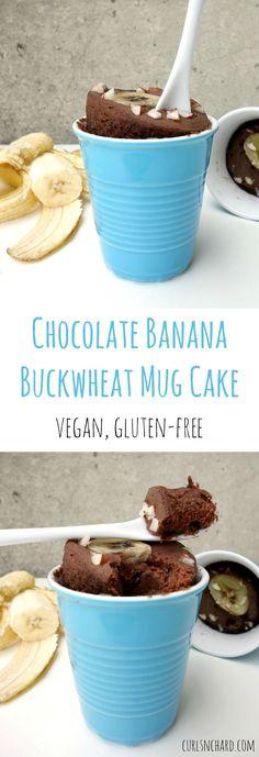 Chocolate Banana Buckwheat Mug Cake (vegan, gluten-free FODMAP-armes Rezept: Tassenkuchen m Paleo Dessert, Bon Dessert, Delicious Desserts, Dessert Recipes, Yummy Food, Fodmap, Mug Recipes, Gluten Free Chocolate, Vegan Chocolate