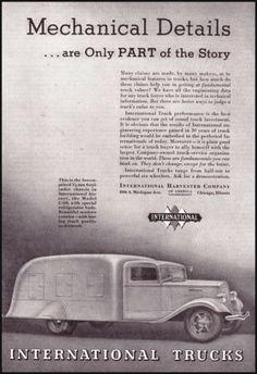 1935 International Trucks Original Vintage Print Ad Old Illustrated Truck Ad Art