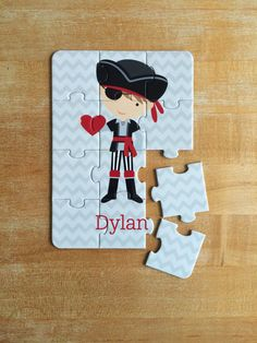 Personalized Valentine Boy Pirate Puzzle by jpurifoy on Etsy
