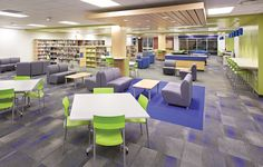 """See how the Sioux Center Middle and High School library went from """"dull, monotone time warp"""" to vibrant, century learning center. The new multi-functional space features a variety of table and seating options and has become a popular hangout for students. Teen Library Space, School Library Design, Middle School Libraries, Modern Library, Classroom Design, Library Ideas, Study Space, 21st Century Schools, 21st Century Classroom"""