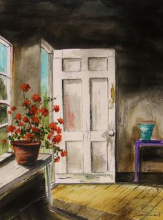 Front Door Original Watercolor Red Geranium Flower by JMWPortfolio