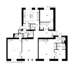 Myydään Kerrostalo, 5 huonetta - Helsinki, Keskusta, Ydinkeskusta - Etuovi.com 7852232 Helsinki, Floor Plans, Floor Plan Drawing, House Floor Plans
