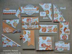 Stampin Up - Stempelset Grüße voller Sonnenschein - Designerpapier Obstgarten- Pfirsisch Pur - OneSheetWonder - One Sheet Wonder - Card - Cards -Birthday - Geburtstag - Grußkarte - 12 Karten aus einem 12x12 Papier - Anleitung ♥ StempelnmitLiebe