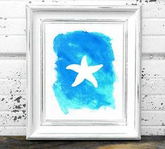 watercolor starfish painting beach nursery print Typographic Print drawing art wall decor framed quotes bedroom poster tumblr room decor makeup,room,interior,lol,funny,pretty,cute