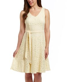 Another great find on #zulily! Sunshine Yellow Lace Sleeveless Dress by Sharagano #zulilyfinds