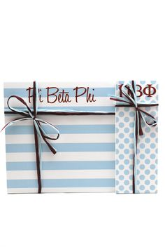 "Pi Beta Phi 3"" x 8"" and 8"" x 8"" Note Pads - each note pad includes 25 sheets of paper tied with a coordinating raffoa (Designed by Ann Page LLC)"