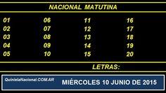 Quiniela Nacional Matutina Miercoles 10 de Junio de 2015. Fuente: http://quinielanacional.com.ar Pizarra de sorteo desarrollado en el recinto de la Loteria Nacional a las 14:00 horas. La jugada Matutina se efectuó con total normalidad.
