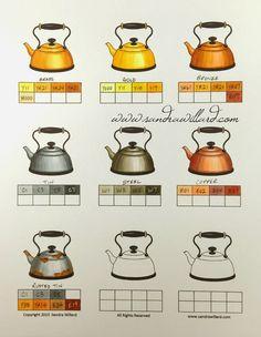 sandra willard: Metals worksheet for Copic Markers