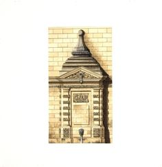 Parisian Fountain / Michael Hampton / watercolor on paper / Art Size: 7 x 12; Frame Size: 15 x 20