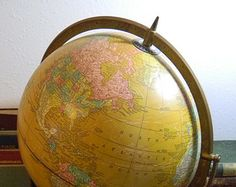 Vintage Cram's Imperial Globe - Large 12 Inch Diameter in Classic Goldenrod Color with Raised Relief for Major Mountain Chains