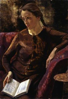 "books0977: "" Elspeth (1941). Robert Sivell (Scottish, 1888 -1958). Oil on canvas. Aberdeen Art Gallery & Museums. This is a portrait of the artist's daughter Elspeth, who has looked up from the book..."