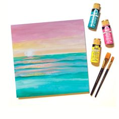 "Watch ""Let's Paint Live"" to paint Summer Sunset along with with us in about an hour during our FREE Live Stream paint party class on Thurs., August 6, 2020 at 7:30pm ET/4:30pm PT! Cute Canvas Paintings, Easy Paintings, Crafts To Sell, Diy Crafts, Selling Crafts, Painting Lessons, Painting Art, Budget Crafts, Create Picture"