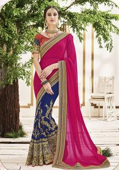 Navyblue With Pink Chiffon & Georgette Saris Fashion ,Indian Dresses - 1