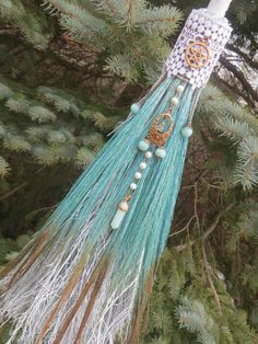 Witch's Protection Broom in Seafoam Green and Copper, Wiccan Altar Broom, Witches Besom, Witchcraft, Pagan, Wiccan, Witches Broom,Broomstick