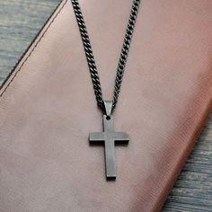 Stainless Steel Black Plated Cross Necklaces & Pendants - Facentials