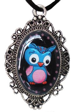 Inked Boutique - Cute Owl Cameo Necklace Victorian Frame http://www.inkedboutique.com