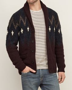 Hand knit with unique pattern details, featuring a shawl collar, a button closure, ribbed trims and front pockets, Muscle Fit, Imported<br><br>41% Acrylic/ 27% Wool/ 16% Cotton/ 16% Nylon