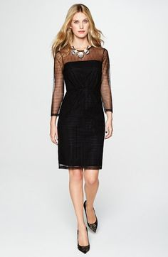 Free shipping and returns on French Connection 'Mona' Dot Illusion Sheath Dress at Nordstrom.com. Tiny neat dots pattern the mesh overlay texturing a go-to little black sheath dress.