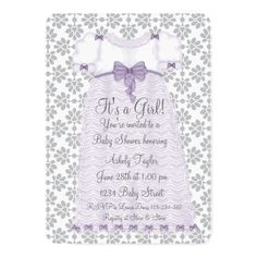 Purple Gray Damask Baby Shower Thank You Note--Custom Printable