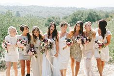 Bridesmaids in gold + neutral dresses