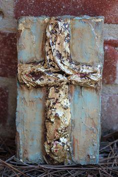 Gold Leaf Cross painting on wood – Media Room İdeas 2020 Sign Of The Cross, Cross Art, Crosses Decor, Gold Wood, Cross Paintings, Wooden Art, Christian Art, Texture Art, Art Tutorials