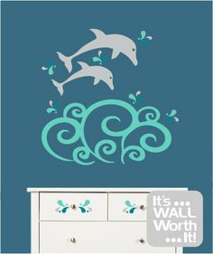 Dolphins with Giant Wave Vinyl Wall Decal  by ItsWallWorthIt, $35.00