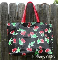 Cherries Market Oilcloth Tote Bag - Cherry - Oilcloth Bag - Market Bag - Waterproof - Large Shopping Bag - Beach Bag - Yoga Bag - Black by Cherry Chick on Etsy