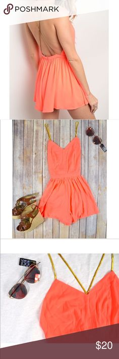 """🌸 Neon Coral Romper 🌸 This romper is perfection! Neon coral in color with gold accented straps that cross in the back. This is the ultimate """"Summer night out"""" outfit. The cross back straps & low back make this romper super sexy and a must have in your closet this Summer! These run a bit small, so be sure to size up if you're in between sizes!  🌸Strap length: (S) 19"""" (M) 20"""" (L) 20"""" 🌸Length: (S) 27"""" (M) 29"""" (L) 29"""" 🌸 Bust: (S) 23"""" (M) 24"""" (L) 24"""" 🌸Waist: (S) 25"""" (M) 28"""" (L) 29"""" 🌸 94%…"""