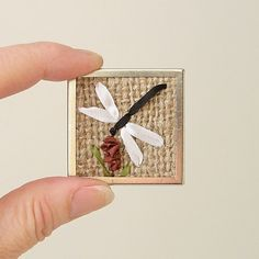 Dragonfly brooch rustic silk ribbon embroidery by bstudio on Etsy