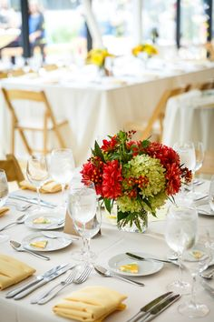 {{Summer weding centerpieces with red zinnias, local hydrangea, and butterfly weed. Summer wedding with locally grown flowers.}} Flowers by Pollen, pollenfloraldesign.com || photos by Greenhouse Loft, || greenhouseloft.com