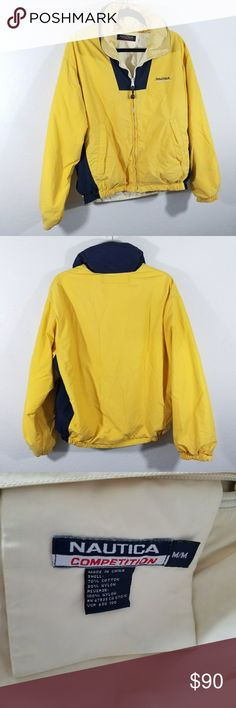 """Vintage Nautica Jacket Yellow and navy vintage performance jacket by Nautica. Size Medium. Pre-owned and in great condition. Normal wear. Some debris around hem and cuffs of sleeves. Staining on the hood. Hood is optional and can be stored in collar. 24"""" shoulder to hem, 24"""" pit to pit and 20"""" pit to hem of sleeve. Comes from a smoke-free pet-free home. Fast shipping! NO TRADES! Nautica Jackets & Coats"""
