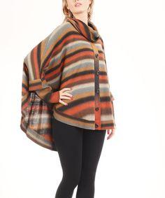 Look at this #zulilyfind! Orange & Brown Stripe Cowl Neck Poncho #zulilyfinds