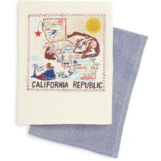 Primitives By Kathy Set Of 2 State Dish Towels ($30) ❤ liked on Polyvore featuring home, kitchen & dining, kitchen linens, california, primitives by kathy, colorful dish towels, twin pack and embroidered dish towels
