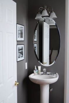 grey half bathroom decoration idea