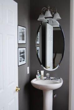 Grey half bathroom decoration idea.