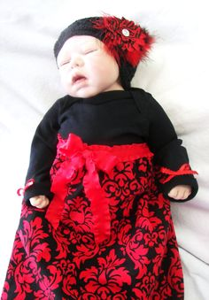 Adalayde... Baby & Mom Pkg... Chic Maternity Hospital Gown-Dress for Mom... Baby Gown and Headband or Knit Cap...Custom or Ready to ship. $79.00, via Etsy.