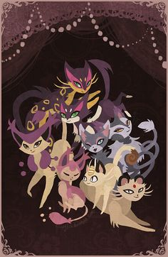 Vector Illustration of different cat-based Pokemon.  My main problem with this is the background.  The scenery looks like this could be a parlor or a circus, but there's nothing but darkness in the background.  What gives?  Plus, there's not many shadows on the cat Pokemon themselves.  Makes no sense!