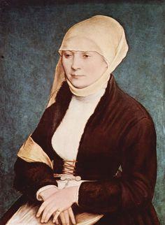 Hans Holbein d. J.  Porträt einer Frau. Um 1517, Tempera auf Holz, 45 × 34 cm. Den Haag, Königliche Gemäldegalerie Mauritshuis. Wahrscheinlich Elsbeth Binsenstock, Ehefrau des Künstlers. Deutschland und Großbritannien. Renaissance.  KO 03066