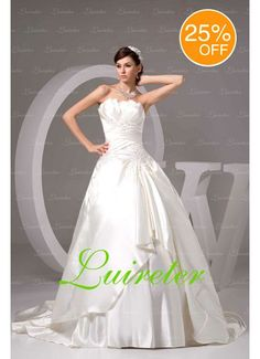 Romantic Ball Gown Chapel Train Strapless White by Myweddingdress, $188.00