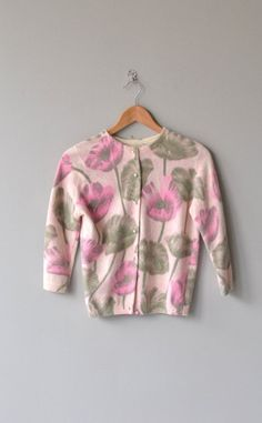 Vintage 1950s, early 1960s French angora rabbit and lambswool cardigan with hand-screen printed pink poppies, 3/4 sleeves and rounded pearly buttons.: